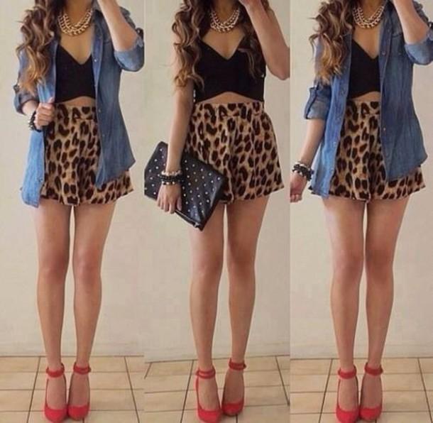 blouse red heels crop tops denim shirt leopard print clutch shorts jewels shoes