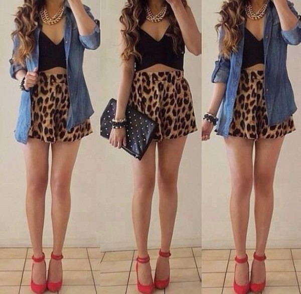 blouse red heels crop tops denim shirt leopard print clutch shorts jewels shoes
