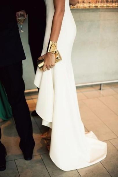 Dress White White Dress Long Back Flowy Hi Low Sheer Gown