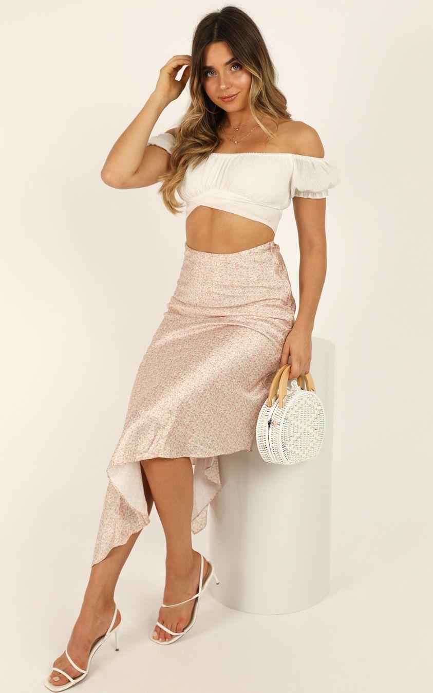 Showpo Apricot Sherbet skirt in orange print satin - 6 (XS) Midi