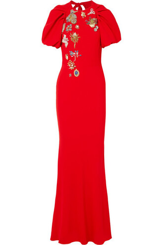 gown embellished red dress