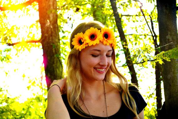 Flower crown floral headband floral crown yellow flower halo floral flower crown floral headband floral crown yellow flower halo floral headpiece hippie fashion festival accessory hippie mightylinksfo