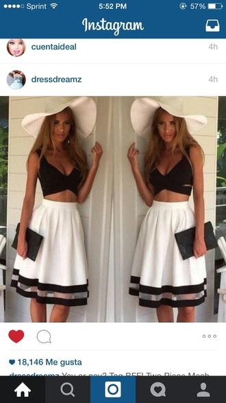 skirt top hat black top white hat white skirt beach