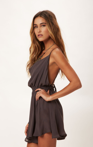 Indah Cowl Neck Silk Cocktail Dress in Gray (SLATE) | Lyst