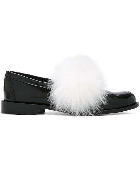 fur fox women plastic slippers leather white black shoes