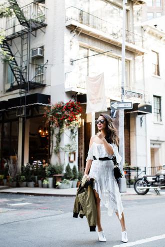 wendy's lookbook blogger jacket dress bag shoes sunglasses belt white dress midi dress shoulder bag