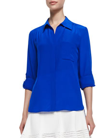 Diane von Furstenberg Lorelei Two Button-Down Blouse, Blue Diamond - Neiman Marcus