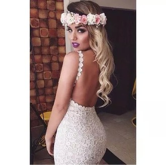 dress ivory dress white lace lace dress flowers