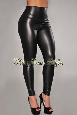008e0ebb6c4 Black Liquid Faux-Leather High-Waist Leggings