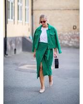 jacket,green jacket,wrap skirt,midi skirt,handbag,mules,white t-shirt,sunglasses