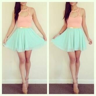 skirt belt mint peach orange chiffon dress bralette less than $80