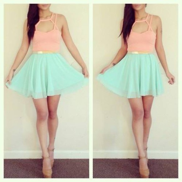 skirt chiffon dress mint Belt peach orange bralets