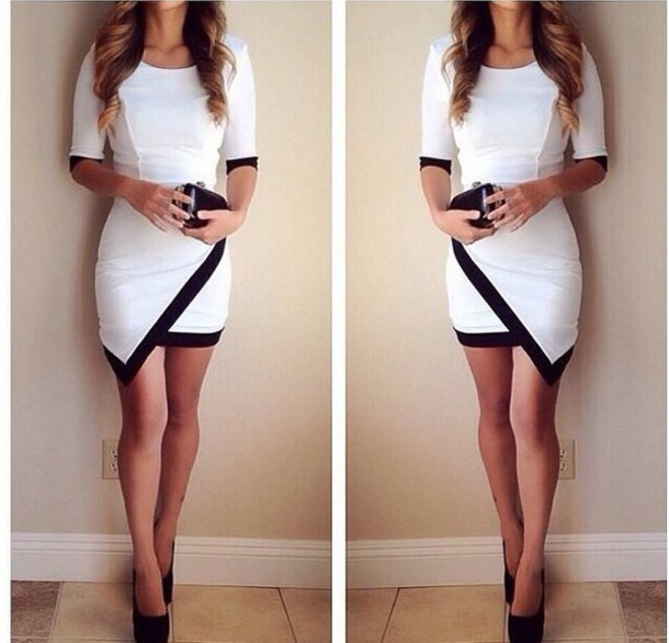 Hot black & white cute design dress