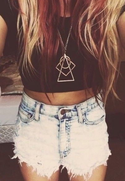 distressed jeans High waisted shorts bleached