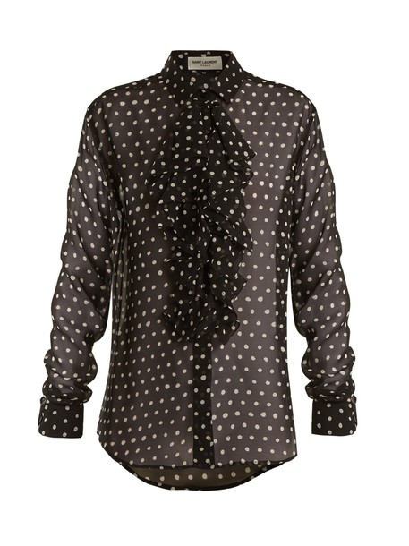 Saint Laurent blouse ruffle print silk white black top