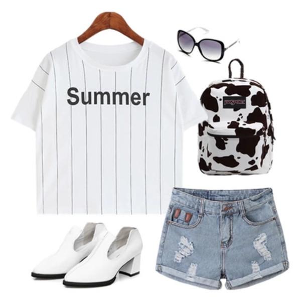 t-shirt shirt band t-shirt summer shorts denim denim shorts jeans denim shorts shoes bag white sunglasses cute
