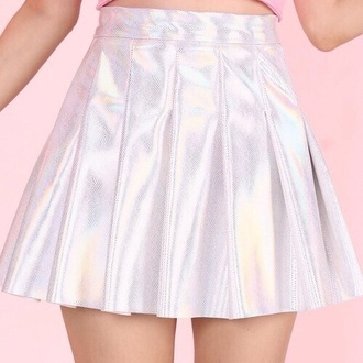 skirt silver shiny pale holographic holographic skirt rainbow american apparel pastel