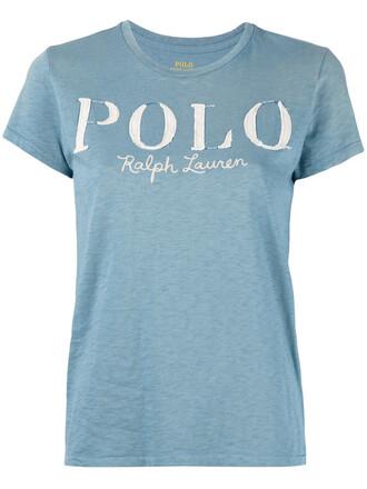 t-shirt shirt women cotton print blue top