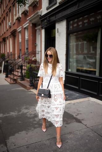 gal meets glam blogger fall dress romantic dress white dress crochet dress
