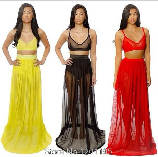 dress beach cover up mesh bralette two-piece yellow red black summer aliexpress free shipping summer dress sexy