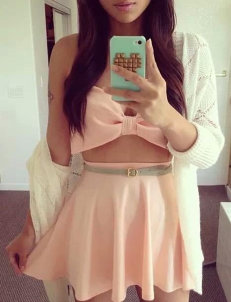 shirt peach bow top belly skirt