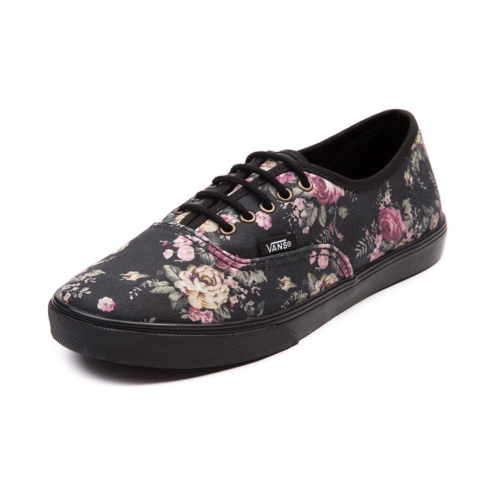 vans authentic lo pro black floral