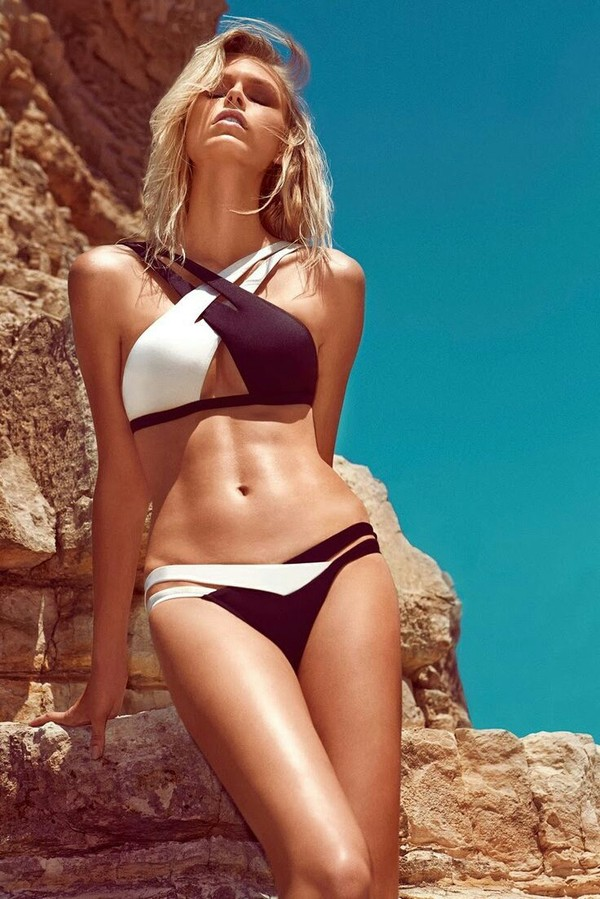 swimwear bikini black and white cute