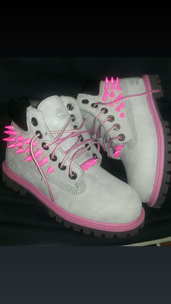 shoes timberlands pink spikes