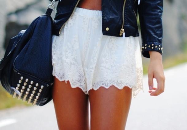 shorts clothes white lace shorts jacket bag black bag white lace white shorts black bag black studded bag hat mortocyle blue blouse pants