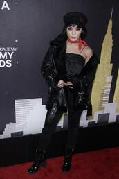 shoes,hat,vanessa hudgens,all black everything,grammys