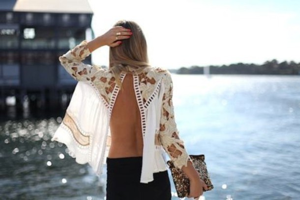 Blouse white blouse open back white pattern gold for Shirts with see through backs