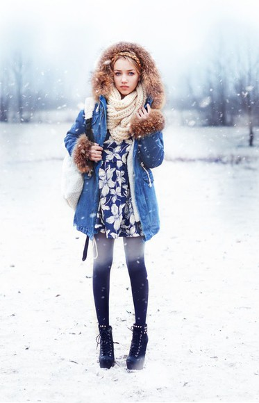 winter outfits scarf shoes tights ukraine ombre tights aksinya air jacket Hit the Road Detachable Fur Denim Jacket Red Lime Sunday
