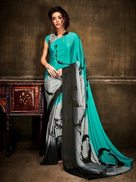 blouse printed saree casual saree online shopping ethnic wear