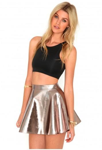 Kitty metallic skater skirt in rose gold