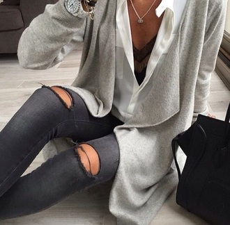 cardigan grey cardigan white t-shirt white top black jeans black ripped jeans jewelery tumblr outfit tumblr shirt