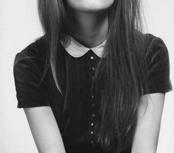 t-shirt dress black and white blouse white collar peter pan collar collared dress tumblr