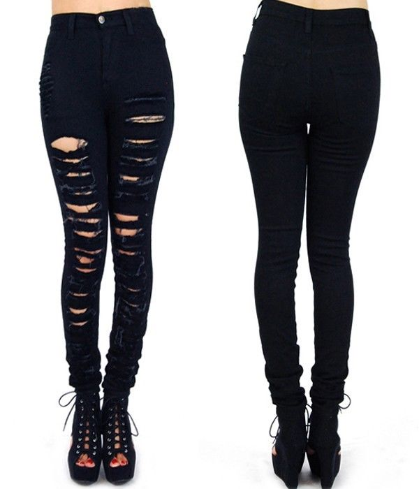 Black Ripped Skinny Jeans High Waisted