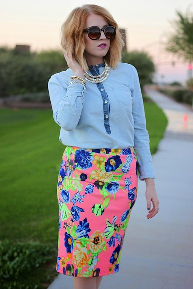 denim shirt pencil skirt blogger sunglasses jewels fashion flirtation floral skirt