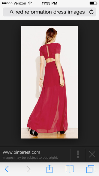 dress red thereformation love&lemons chic sexy chiffon maxi cap sleeve red dress reformation