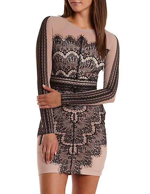 6441d054ef76 Scalloped Lace Bodycon Dress | Charlotte Russe