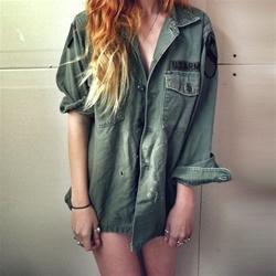 I hate everyone vintage army jacket/shirt