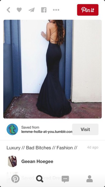9a715ca624 dress prom formal mermaid backless dress navy dress cross spaghetti strap  satin silk long navy prom