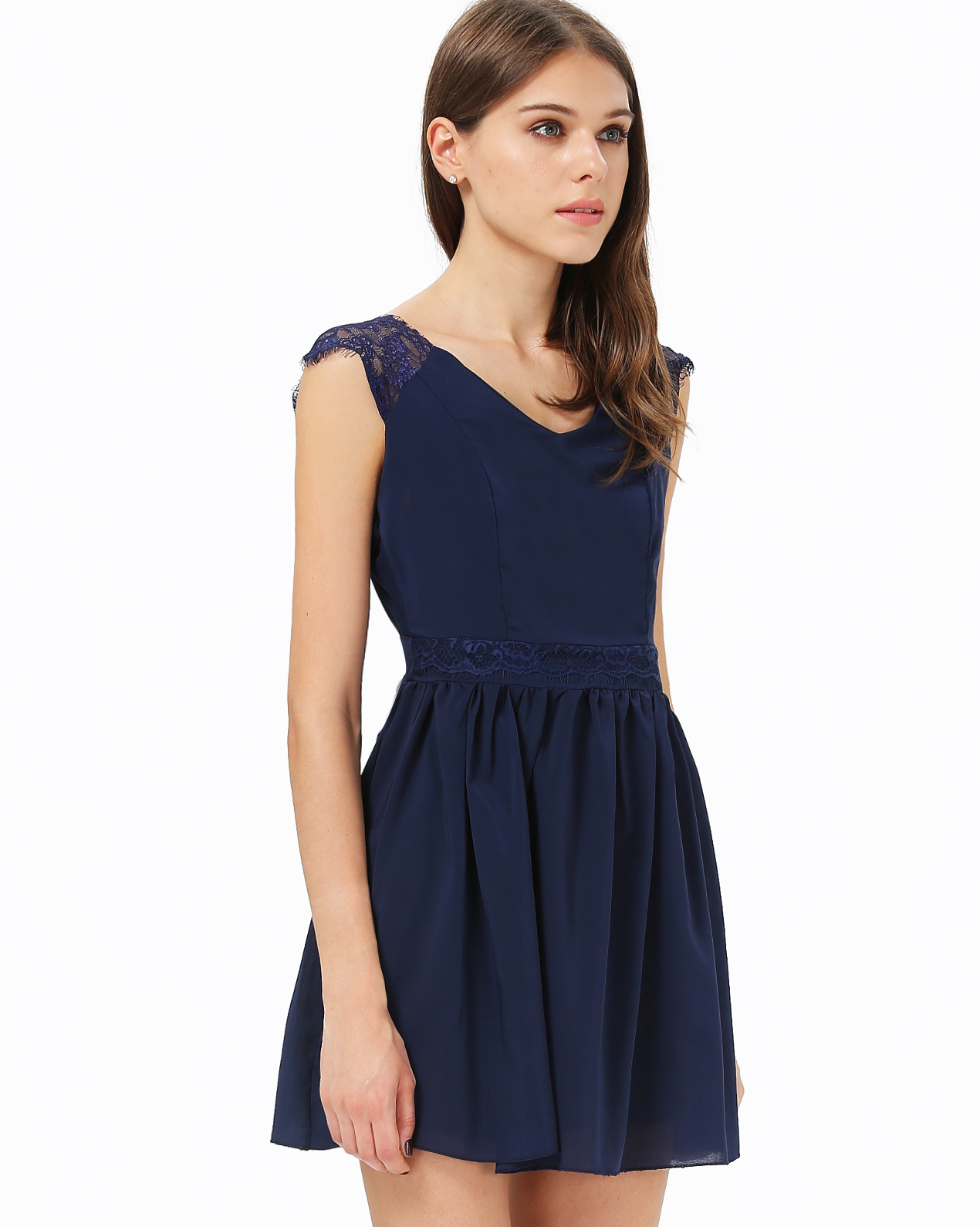 Blue Contrast Lace Backless Chiffon Dress - Sheinside.com