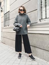 trini,blogger,sunglasses,sweater,pants,shoes,bag,grey sweater,turtleneck sweater,wide-leg pants,chanel bag,sneakers