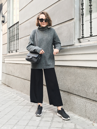 trini blogger sunglasses sweater pants shoes bag grey sweater turtleneck sweater wide-leg pants chanel bag sneakers