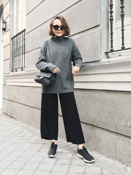 trini blogger sunglasses sweater pants shoes bag grey sweater turtleneck sweater wide-leg pants chanel bag sneakers