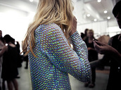 sweater,shiny,clothes,top,jumper,metallic,embellished jacket,shirt,blue,color/pattern,green,blouse,transparent