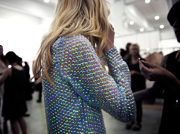 Sweater: shiny, clothes, top, jumper, metallic, embellished jacket ...
