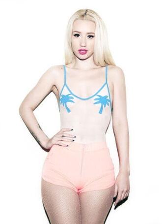 swimwear bodysuit mesh palm tree print iggy azalea