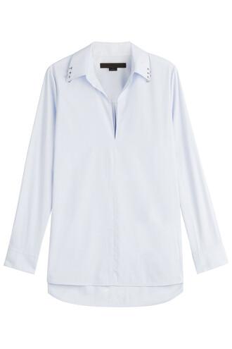 shirt embellished cotton blue top